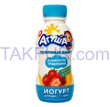 Йогурт Агуша 2,7% Клубн-банан 200г - Фото