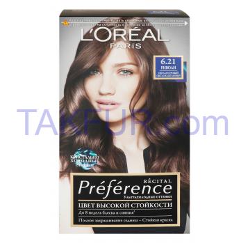 Краска L`Oréal Récit Préf 6.21 Риволи Перлам свет-кашт 1шт - Фото