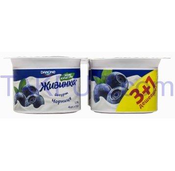 Йогурт Живинка черника 1,5% 115г*4шт 460г - Фото