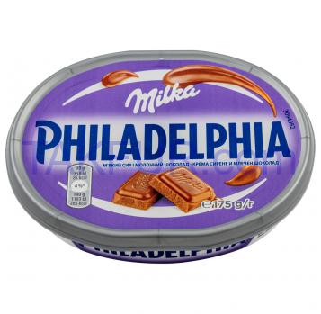Сыр Philadelphia мягкий c молочным шоколадом Milka 22% 175г - Фото