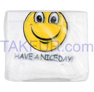Пакеты полиэтиленовые Майка белые с рисунком 100шт - Фото