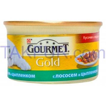 Корм для кошек Purina Gourmet Gold с лососем и цыпленком 85г - Фото