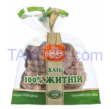 Хлеб Рум'янець 100% ржаной нарезанный 450г - Фото