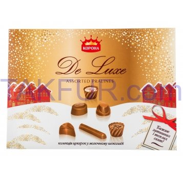 Конфеты Корона De luxe коллекция в молочном шоколаде 254г - Фото