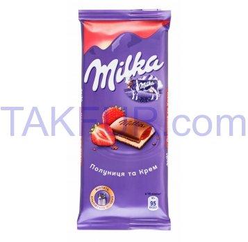 Шоколад Milka с кремовой и клубничной начинкой 90г - Фото