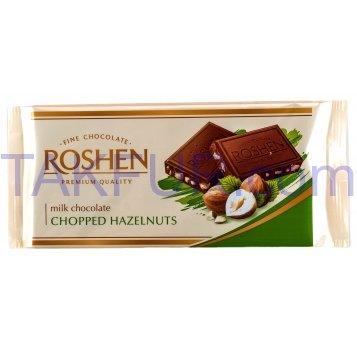 Шоколад Roshen молочный с измельченными лесными орехами 90г - Фото