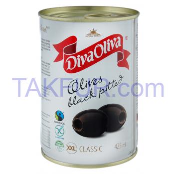 Маслины Diva Oliva черные без косточки 425мл - Фото