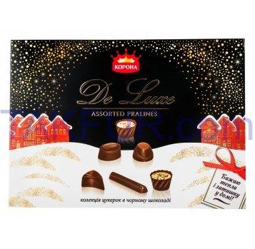 Конфеты Корона De luxe коллекция в черном шоколаде 146г - Фото