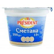 Сметана President 15% стакан 200г - Фото
